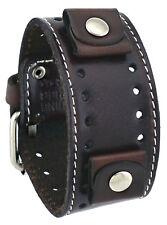 Nemesis STH-BB Dark Brown Wide Leather Cuff Watch Wrist Band