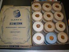 vintage box Clark's Big Ball Merceried Crochet 12 balls 200 yards white, tan, bl