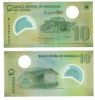 NICARAGUA 10 Cordobas POLYMER Banknote (2007) P-201a A/1 Prefix Paper Money UNC