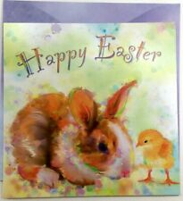Happy Easter Greeting Card By Leanin' Tree Super Cute Watercolor Bunny & Chick