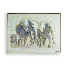 Art for the Home Metallic Elephant Family Handpainted Framed Canvas Wall Art