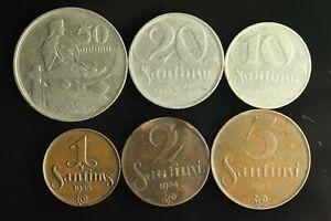 LATVIA Lettland Lettonia FULL SET 1922 -1939 coins 1,2,5,10,20,50 Santimi M903