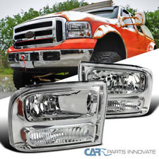 99 04 Ford F250 F350 Superduty 00 Excursion Chrome Clear 1pc Style Headlights