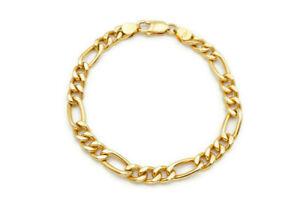 "Mens 14k Yellow Gold Figaro Link Bracelet Italy 8.25"""