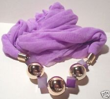 Lilac Eternity scarf with atached large gold tone beaded necklace