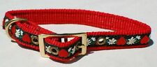 HEARTS & FLOWERS DOG COLLAR NYLON/RIBBON  WITH BRASS BUCKLE