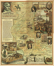 1940 Pictorial Map Lincoln Memorial Trail Black Hawk War Trail Wall Art Poster