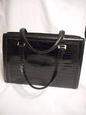 Vintage Hermes Pullman Black Croc Handbag Gold Tone Locking With Key