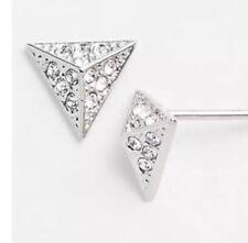 Nadri 35227 Women's Silver Small Pyramid Stud Earrings
