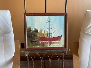 "Vtg Original Acrylic Painting Seascape Fishing Boat Signed Artist John 10x12"""