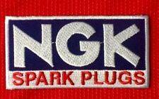 NGK SPARK PLUGS MOTOR RACING MOTORCYCLE BADGE IRON SEW ON PATCH