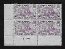L5094 Newfoundland MNH Mint Stamp Block of 4 RINCON 1947 5c Rose boat ship