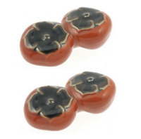 SET of 2 PCS. Japanese Ceramic Chopstick Rest Pair of Persimmons Made in Japan