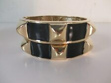 Banana Republic Black RED Enamel Pyramid Hinged bracelet Cuff NWOT $45 set of 2