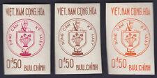 VIETNAM SOUTH 1963 Color trials x 3 shiny white Gum NHVF