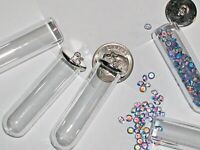 1 Glass Tube wide mouth BOTTLE vial silver plated cap hoop potion jewelry making