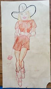 original unknown texas antique vintage tattoo flash 1950?s cowgirl pinup 11x20