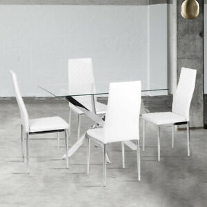 Dining Rectangle Table and 2/4/6PVC Leather Chairs Kitchen Dinning Room White UK