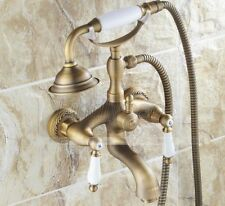 Antique Brass Telephone Style Bath tub Faucet Mixer Tap W/ Hand Shower Ktf022