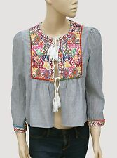 139566 New  Zara Embroidered Tie Knot Gather Asymmetrical Cotton Cover Up Top M