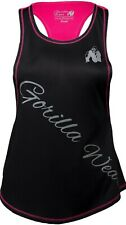 🦍UK M.Gorilla Wear Womens Florida Stringer Tank Top Black/Pink Fitness New+tags