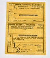 Vintage Maine Central Railroad Ticket Agent Stub -Half ticket SM2A