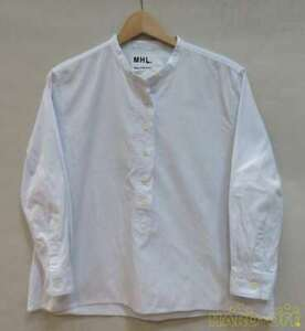 Margaret Howell Stand Collar Shirt Light Blue Size 1 tops Length about 60 cm