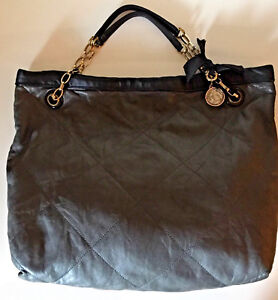 Lanvin Amalia Grey Quilted Silky Soft Lambskin Leather Tote Large Handbag VGC