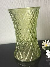 "Large Light Green Glass Vase Flowers 8"" Geometric Design Home Décor"