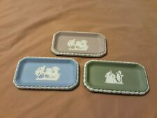 "Lot Of 3"" Wedgwood Oblong Rectangle Pin Tray Butter Dishes, Lilac, Sage, & Blue"