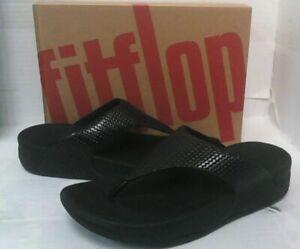 FitFlop Women's Lulu Weave Toe Post Sandals sz 7 Black $110