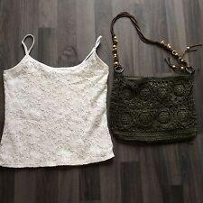 Per una white short thin strap top size 8 and green crochet bag matalan