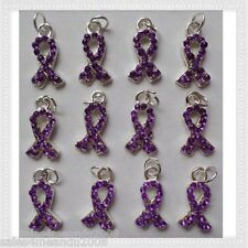 12 Purple Rhinestone Ribbon Cancer Awareness Charms Jewelry Making P9