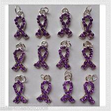 12 Purple Rhinestone Ribbon Cancer Awareness Charms Jewelry Making P9