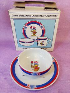1984 Sam Olympics Eagle Childrens Ceramicware Bowl Plate in Box Los Angeles VTG