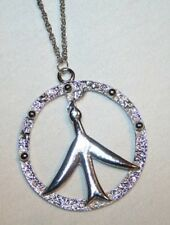 Openwork Silvertone Spirit Dove Peace Symbol Necklace +