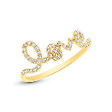 14K Yellow Gold Fashion Cocktail Right Hand Diamond Love Inscribed Ring Band