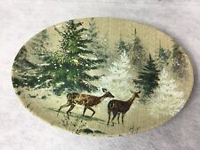 Pottery Barn DEER IN SNOW Oval Serving Platter EUC