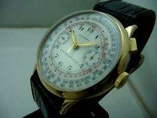 LONGINES18 KT GOLD RARE MONOPUSHER CHRONO OVERSIZE 39,50 MM. MINT CONDITION 1934