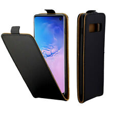 Black Vertical Leather Flip Case Mobile Phone Cover Pouch for Samsung Galaxy S10