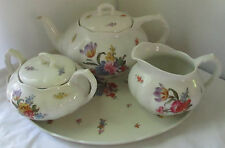 ANTIQUE LUDWIGSBURG PORCELAIN TEA SET - TEAPOT - SUGAR BOWL - CREAMER - TRAY