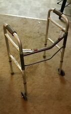 Deluxe Adult Folding Walker, Two Button with  Wheels, 300 lb