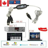 MIDI To USB IN-OUT Interface PC Music Keyboard Converter Adapter Cable Cord 1.8m