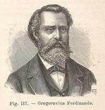 B2184 Ferdinand Gregorovius - Ritratto - Incisione antica del 1927 - Engraving