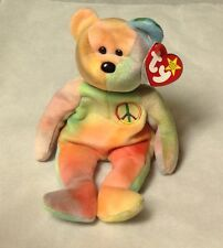 TY BEANIE BABY BEAR ~ PEACE~ BRIGHT COLORS, MULTIPLE ERRORS, NEW