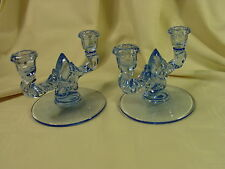New Martinsville Teardrop Pair of Double Two Light Candle Holders ~~ Ice Blue