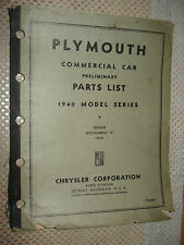 1940 PLYMOUTH PRELIMINARY PARTS BOOK ORIGINAL #S LIST CATALOG COMMERCIAL CARS