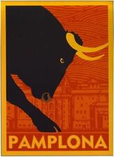 Vintage Pamplona Running Of The Bulls Tourism Poster  A2 Reprint