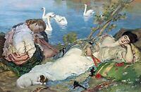 """Sleeping"" by Australian  Rupert Bunny. Nice Canvas Life Art   11x17 Print"