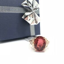 14k Rose Gold Natural Zircon and Natural Diamond Ring